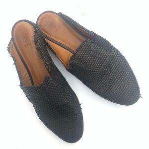 Frye Terri Black Mule Weave Flat Size 8.5
